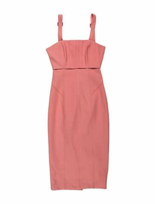 Cinq à Sept Square Neckline Midi Length Dress Pink