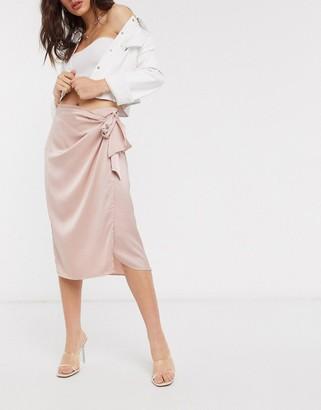 Vila satin wrap skirt in pink