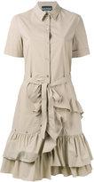 Moschino ruffled shirt dress - women - Cotton/Other fibres - 42