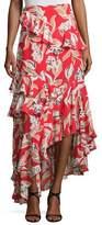 Sachin + Babi Manhattan Asymmetric Silk Leaf Maxi Skirt, Goji Berry