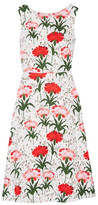 Erdem Maia Floral-print Cotton-blend Piqué Dress - White