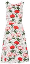 Erdem Maia Floral-print Cotton-blend Piqué Dress - White