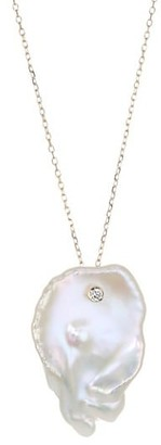 Mizuki Sea Of Beauty 16MM Flat White Freshwater Pearl, Diamond & 14K Yellow Gold Single Petal Necklace