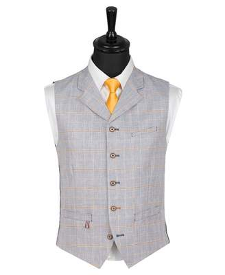 Gibson London Linen Mix Checked Waistcoat Colour: PALE BLUE, Size: 40