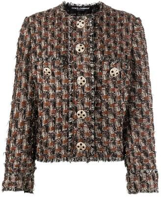 Dolce & Gabbana Frayed Tweed Buttoned Jacket