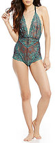 Free People Too Cute to Handle Sheer Floral Scalloped Lace Bodysuit