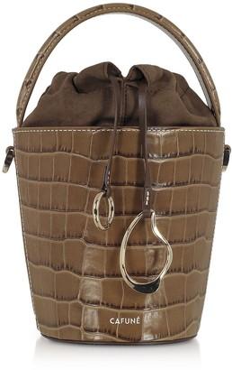 Cafune Walnut Croco Embossed Leather Mini Bucket Bag