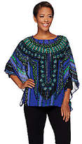 Bob Mackie Bob Mackie's Printed Caftan Top and 3/4 SleeveKnit Top Set