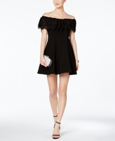 Betsy & Adam Petite Off-The-Shoulder Fit & Flare Dress