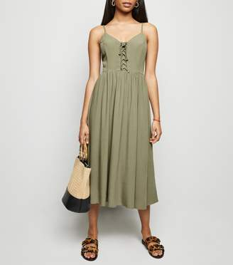 New Look Petite Lace Up Front Midi Dress