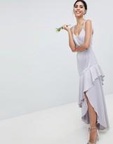 Asos DESIGN Pearl Trim Strap Maxi Dress With Ruffle Skirt