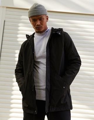 Asos Design DESIGN parka jacket in black with fleece lining