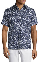 Etro Safari-Print Short-Sleeve Sport Shirt, Navy