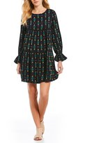 Roxy Sweetness Seas Printed Tiered Bell Cuff Shift Dress