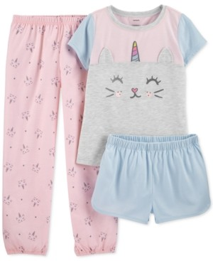 Carter's Little & Big Girls 3-Pc. Caticorn Pajamas Set
