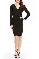 Calvin Klein Faux Wrap Glitter Knit Dress