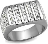 Mai Jewelry Shop & Hair Accessories Men's Stainless Steel Channel Set Crystal Ring