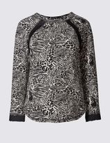 Marks and Spencer Jacquard Print 3/4 Sleeve Sweatshirt
