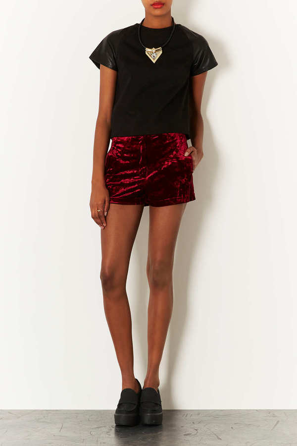 Topshop MOTO Leather and Denim Mix Tee