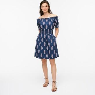 J.Crew Smocked puff-sleeve cotton poplin dress in budding branch print