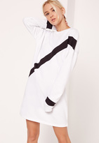 Missguided Stripe Contrast Sweater Dress White