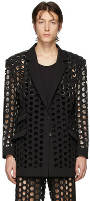 Maison Margiela Black Double-Cloth Perforated Blazer