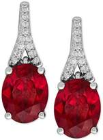 Macy's Lab-Created Ruby (4 ct. t.w.) and White Sapphire (1/8 ct. t.w.) Drop Earrings in Sterling Silver