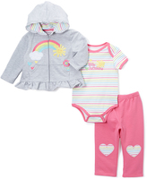 Buster Brown Light Heather Gray & Carmine Rose Rainbow Hoodie Set - Infant