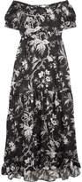McQ Off-the-shoulder Open-back Printed Satin-twill Midi Dress