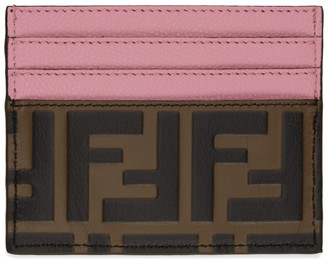 Fendi Pink and Brown Forever Card Holder