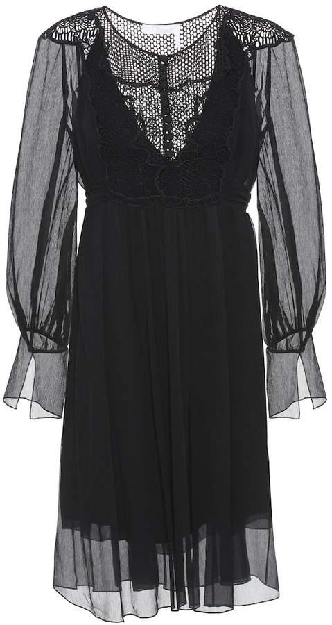 Silk panelled Lace Negro Dress Mytheresa jSMqGLUzVp
