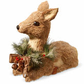 NATIONAL TREE CO National Tree Co. Handcrafted Straw Sitting Deer Animal Figurines