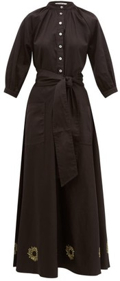 ÀCHEVAL PAMPA Argentina Sun-embroidered Cotton-blend Dress - Womens - Black
