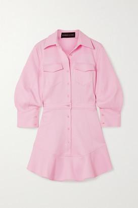 Brandon Maxwell Cotton-blend Pique Mini Shirt Dress - Pastel pink