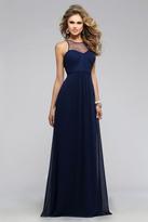 Faviana 7774 Chiffon Illusion Evening dress with Keyhole back