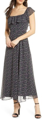 Sam Edelman Ditsy Print Ruffled Maxi Dress