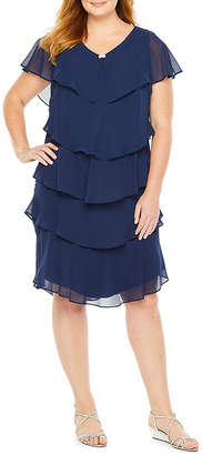 SL Fashions S. L. Fashions Short Sleeve Tiered Party Dress - Plus
