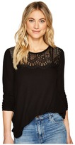 Lucky Brand Lace Collar Thermal Top Women's Clothing