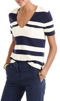 J.Crew Women's Stripe Wool V-Neck Sweater
