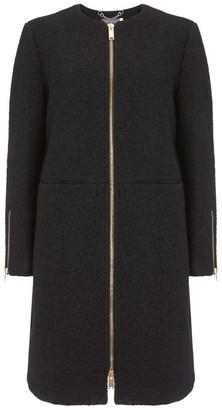 Mint Velvet Black Collarless Boucle Coat