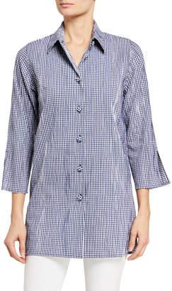 Caroline Rose Gingham Crinkled Tunic Shirt