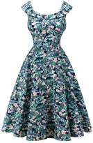 Dasbayla Ladies Hepburn Style Floral Dresses Ruffle Pleated Sleeveless Cocktail Dress M