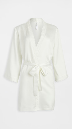 Flora Nikrooz Solid Charmeuse Wrap Robe with Lace Trim