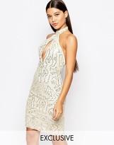 Club L High Neck Midi Dress in Allover Sequin