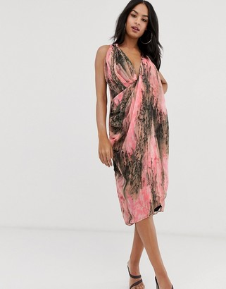 ASOS DESIGN drape front midi dress in abstract print