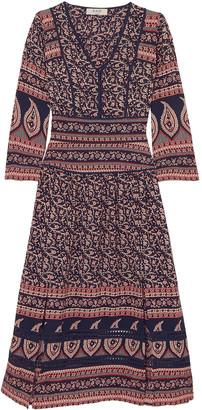 Sea Aurora Printed Cotton-voile Midi Dress