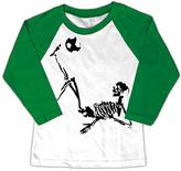 Micro Me White & Green Soccer Skeleton Raglan - Toddler & Boys