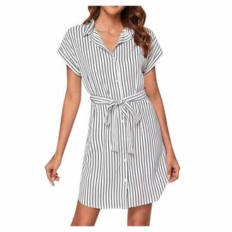 Moent Women Sexy Stripe T-Shirt Short Sleeve Loose Top Shirt Dress Woman Dress Elegant White