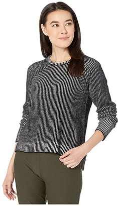 Eileen Fisher Petite Organic Cotton Chenille Crew Neck Box Top (Black/Soft White) Women's Clothing