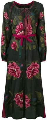 Vita Kin Rose Print Button-Front Maxi Dress